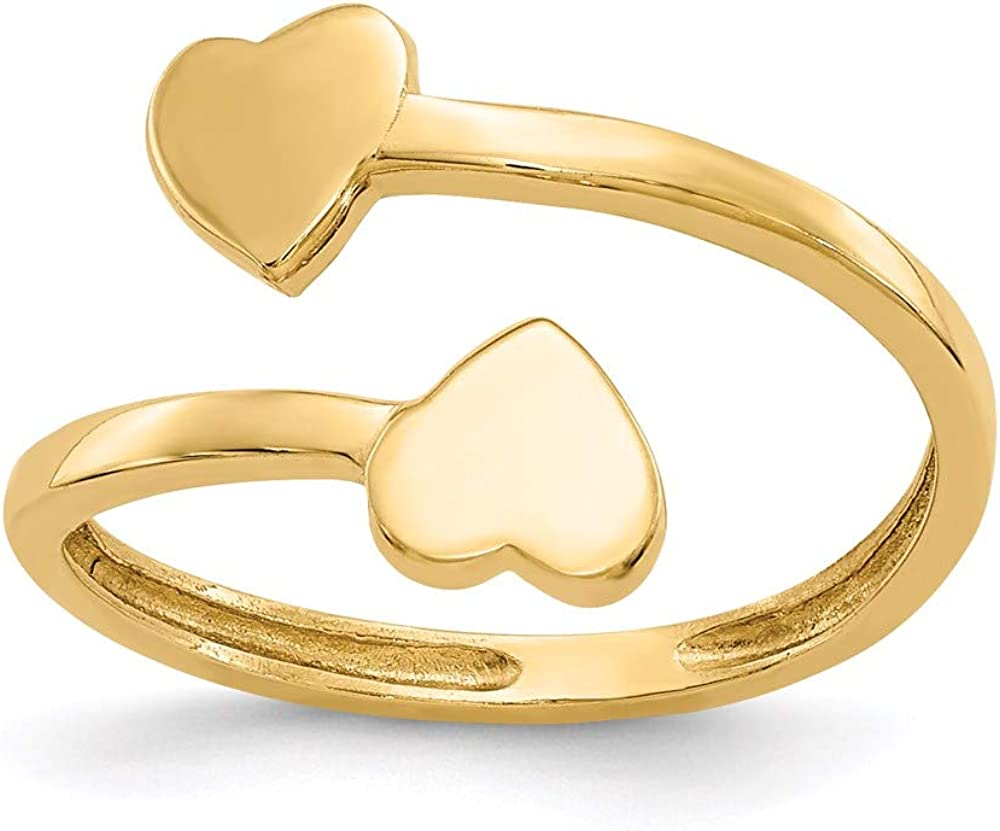14k Yellow Gold Double Heart Adjustable Cute Toe Ring Set Fine Jewelry For Women Gifts For Her