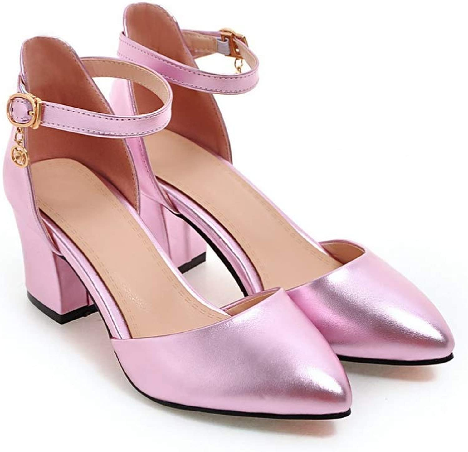T-JULY Sandals Women Med Square Heels Pointed Toe shoes Lady Wedding Party shoes with Buckle Ankle Strap