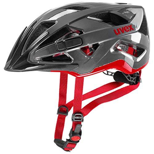 Uvex Unisex– Erwachsene, active Fahrradhelm, anthracite-red, 52-57 cm