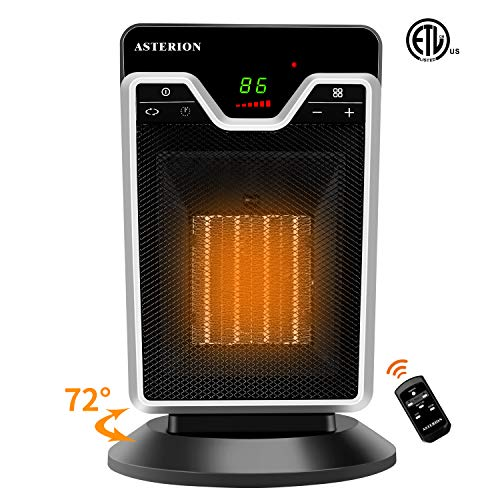 Space Heater for Indoor Use, ASTERION Portable Office Heater with Adjustable Thermostat, Ceramic Oscillating Heater with 24H Timer Remote Tip Over Overheating Protection for Home Bedroom, 1500W Black