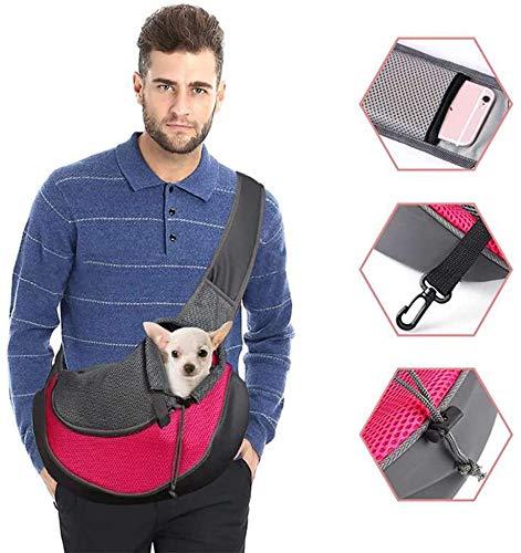 Bolsa de transporte para perro bandolera para gato cachorro ajustable bolsa de viaje para pequeños animales bolsos de mano perro con bolsa malla transpirable para perro caminar al aire libre