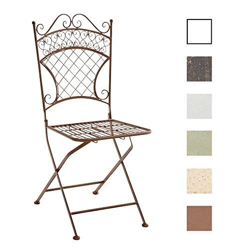 CLP Eisen-Klappstuhl ADELAR Design I Klappbarer Gartenstuhl mit edlen Verzierungen I erhältlich Antik Braun