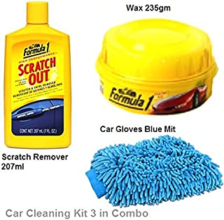 Car Cleaning and Scratch Remover Kit 207ml/Formula 1 Wax 235gm/Microfiber Cleaning Glove Cloth Double Sided for Tata Zest