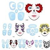 6 estilos / set de pintura facial, herramienta de pintura cosmética de tatuaje reutilizable de plantilla de henna corporal