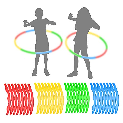 Read About 4 Pack Plastic Hula Rings Toys,Hula Rings Toys Adjustable Weight & Length for Sports Part...