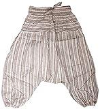 Shopoholic Fashion, Kinder-Hose im Boho-/Hippie-Stil, bequeme, farbenfrohe Retro-Hose Gr. L, hellgrau