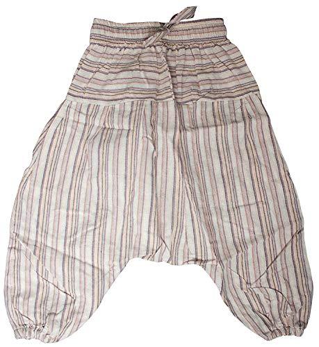 Shopoholic Fashion, Kinder-Hose im Boho-/Hippie-Stil, bequeme, farbenfrohe Retro-Hose Gr. 3XL, hellgrau