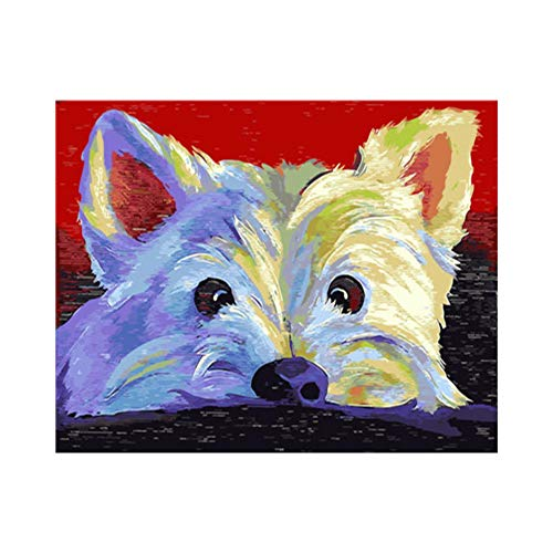 jasonding (Kein Rahmen) Malerei Warme Winterliebe Hundekatze Digitales Ölgemälde Hauptdekor-Wandkunst Für Reizendes Haustier des Wohnzimmers Durch Zahlen