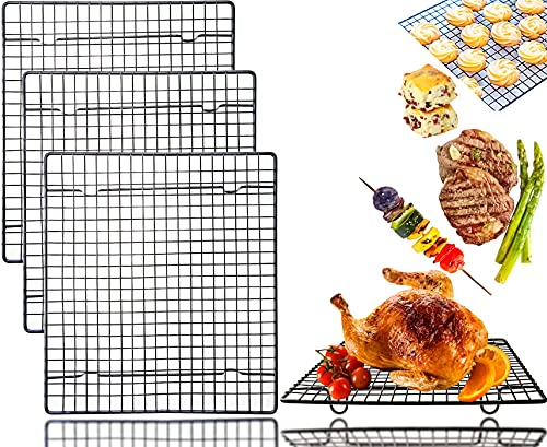 Oruuum 3 Pack 10.24' x 9.05' Nonstick Cooling Racks, Carbon Steel Baking Rack Bold-Grid Design Wire Rack for Baking