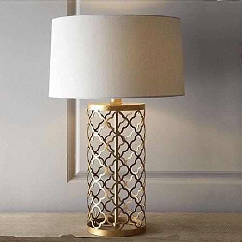 Europäische Luxus Gold Tischlampe Retro Hohl Eisen Stehlampe Schlafzimmer Lampe Nachttischlampe E27(Hoch 70cm)