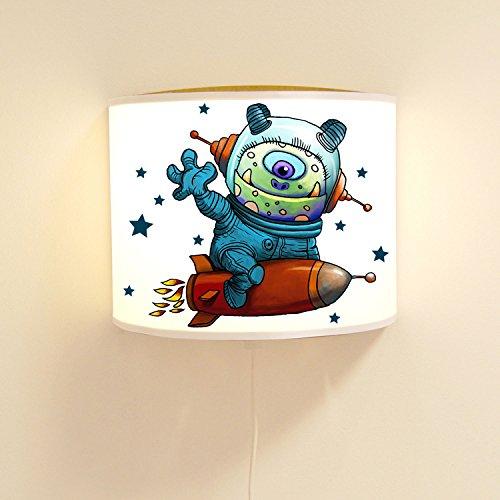 Wandtattoo-welt® Lampe Murale Monster Astronaut pour Enfant avec étoiles et Vaisseau d'ambiance