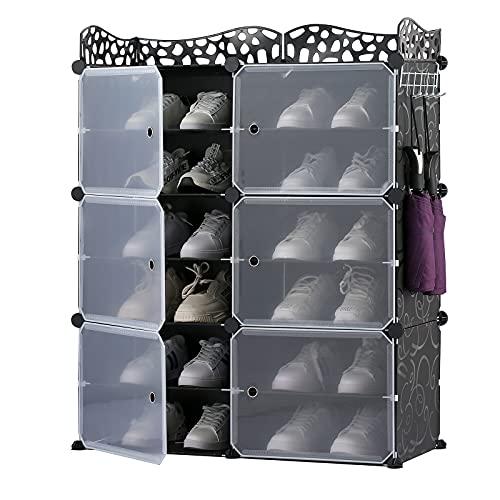 Zapatero armario de almacenamiento de 12 cubos, estantes de plástico para zapatos organizador para ahorrar espacio armarios de bricolaje armario multiusos 2X6