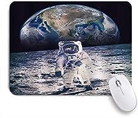 ZOMOY マウスパッド 個性的 おしゃれ 柔軟 かわいい ゴム製裏面 ゲーミングマウスパッド PC ノートパソコン オフィス用 デスクマット 滑り止め 耐久性が良い おもしろいパターン (宇宙人が地球を背景に月面を歩く銀河の旅宇宙)