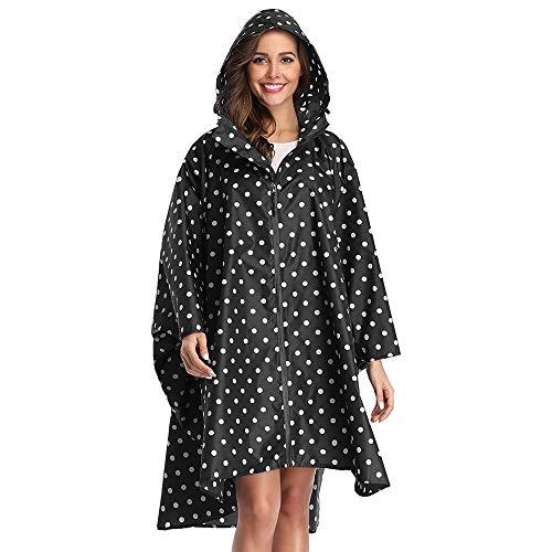 Summer Mae Regen Poncho Jacke Mantel für Erwachsene mit Kapuze wasserdicht mit Reißverschluss im Freien,Einheitsgröße,Schwarz Punkte