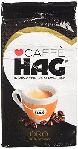 Hag - Caffè Macinato Decaffeinato Gusto Oro - Miscela Caffè per Moka 100% Arabica - 16 Confezioni - Pacco da 250 gr