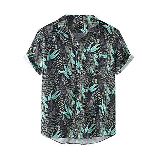 Camisa hawaiana informal para hombre con impresión 3D de flores, camisa de manga corta, camisa de playa Y2K, camisa de moda Aloha para viajes y playa verde XXL