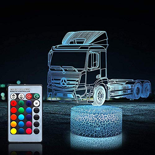 Lámpara de ilusión 3D regalo de Navidad luz de noche camión 16 cambio de color decoración lámpara con control remoto y toque inteligente, Navidad y cumpleaños