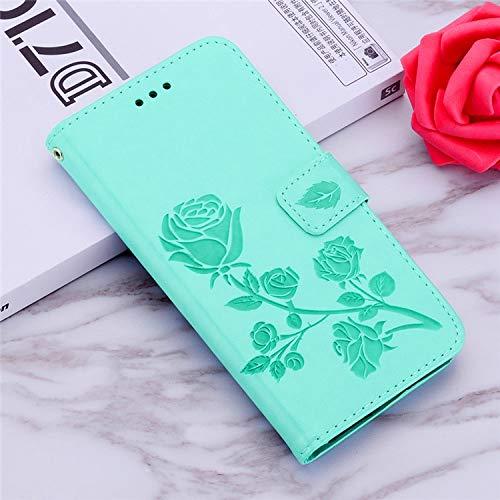 QiuKui - Funda de piel con tapa para Xiaomi POCO X3 NFC A1 5X F1 Redmi Note 4X 5A 6 7 8 9S Pro Redmi 9A 9C Funda con ranuras para tarjetas (Color: Verde, Material: Para Mi F1)