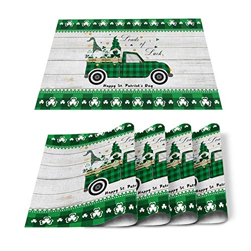 Placemats for Dining Table Decor,Lucky Gnome Sitting on Green Truck Happy St. Patrick's Day Heat Insulation Stain Resistant Place Mat for Dining Kitchen Table Holiday,Set of 6pc Washable Table Mats