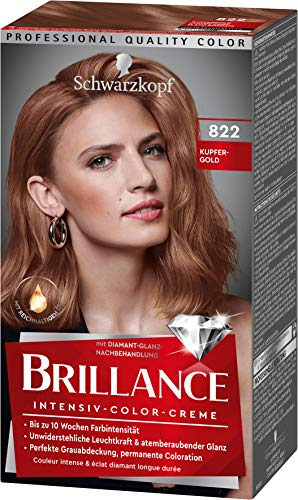 Brillance Intensiv-Color-Creme Haarfarbe 822 Kupfergold Stufe 3, 3er Pack(3 x 160 ml)