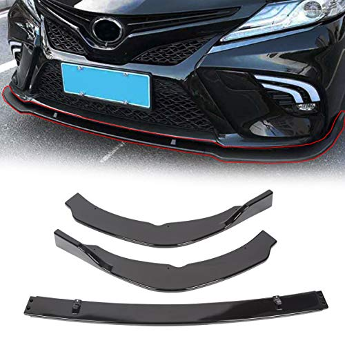 ECOTRIC Front Bumper Lip Splitter Cover Trim Spoiler Diffuser Deflector Compatible with 2018 2019 2020 Toyota Camry SE/XSE Gloss Black (3 PCS Style)