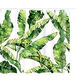 Litthing Duschvorhang 180x180 Anti-Schimmel & Wasserabweisend Shower Curtain mit 12 Duschvorhangringen 3D Digitaldruck Grüne Pflanze mit lebendigen Farben (13)