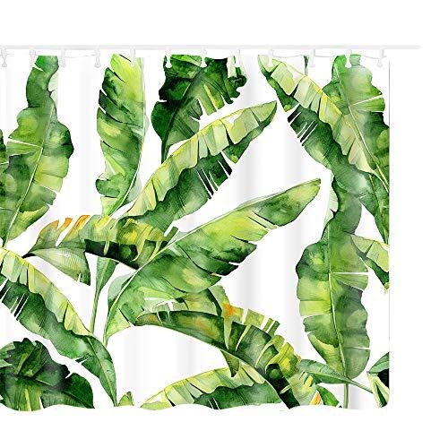 Litthing Duschvorhang 180x180 Anti-Schimmel und Wasserabweisend Shower Curtain mit 12 Duschvorhangringen 3D Digitaldruck Grüne Pflanze mit lebendigen Farben (13)