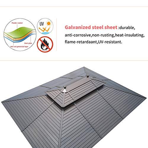 EROMMY Hardtop Gazebo Galvanized Steel Outdoor Gazebo Canopy Double...