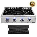 Thor Kitchen 30'' Pro-Style Gas Rangetop with 4 Sealed Burners in Stainless Steel, Flat Cast-Iron Grates, Cast-Iron Reversible Griddle, HRT3003U