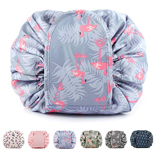 TOPSEFU Lazy Drawstring Make up Bag Portable Large Travel Cosmetic Bag Pouch Travel Makeup Pouch Storage Organiser For Women Girl