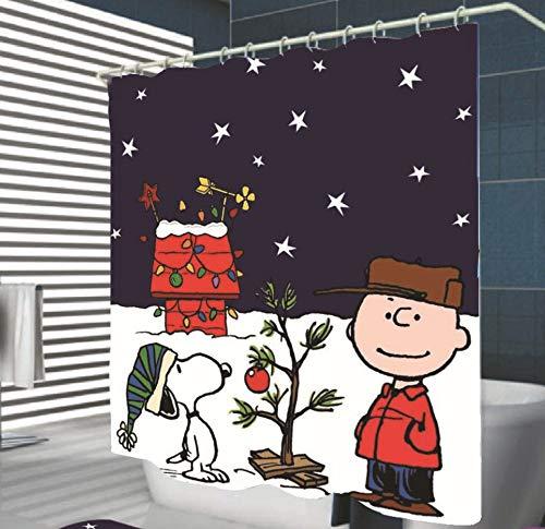 SCVBLJS Snoopy Duschvorhang Wasserdichter Badvorhang Aus Polyestergewebe Antibakterieller Badvorhang Mit Haken 180 * 180 cm