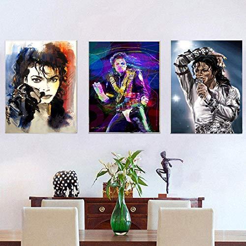 RunYun Pintura al óleo 3P Cuadro Lienzo Estrella Famosa Michael Jackson Decoración para el hogar Impresión On 50cm x70cm x3p Sin Marco