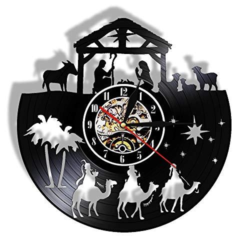 LKJHGU Reloj de Pared con Disco de Vinilo Cristiano Vintage Menino Jesús creencia Religiosa Arte de Pared decoración del hogar Reloj de Pared de fe Inspirador
