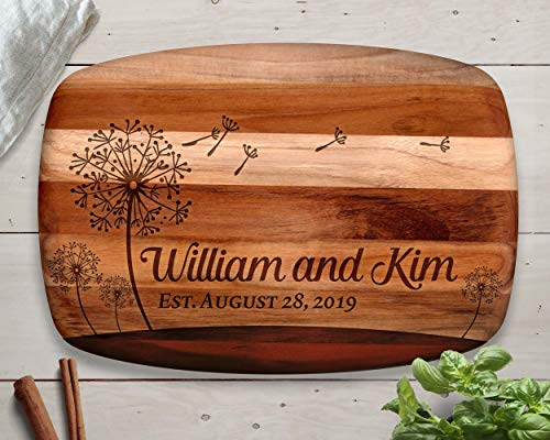 Dandelion, Personalized Cutting Board, Teak Cutting Board, Dandelion Wall Art, Dandelion Flower, Anniversary Gift, Christmas Gift for Wife