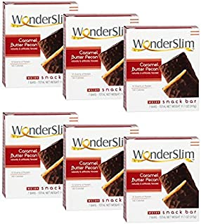 WonderSlim High Protein Snack Bar / Diet Bars - Caramel Butter Pecan (7ct) 6 Box Value-Pack (Save 10%) - Trans Fat Free, Aspartame Free, Kosher, Cholesterol Free