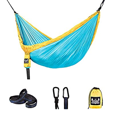 Better Outdoor Supply Hammock - Portable - Durable - Lightweight 210T Nylon Parachute Kit - Multiple Colors - Perfect Relaxing - Camping - Outdoor - Indoor and Travel | (Lake Blue, X-Large, Double)