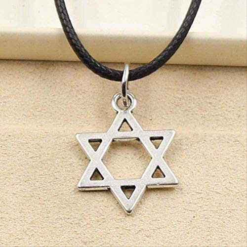 NC110 Necklace Star of Shield Hexagram Pendant Necklace Choker Charm Black Leather Cord Jewelry