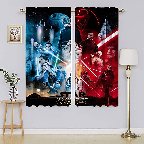 Cortina de ventana de Star Wars, cortinas de oscurecimiento de habitación, cortinas de bajo consumo para dormitorio/sala de estar de 55 x 63 pulgadas