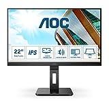 AOC 22P2DU - Monitor FHD da 22 pollici, regolabile in altezza (1920 x 1080, 75 Hz, VGA, DVI, HDMI, hub USB), colore: Nero