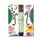 QZHSCYB Hermosas Flores Violonchelo Acuarela Arte Lienzo Pintura violín Viola música Arte de Pared impresión Floral Imagen Divertida póster decoración del hogar -50x70cm (sin Marco)