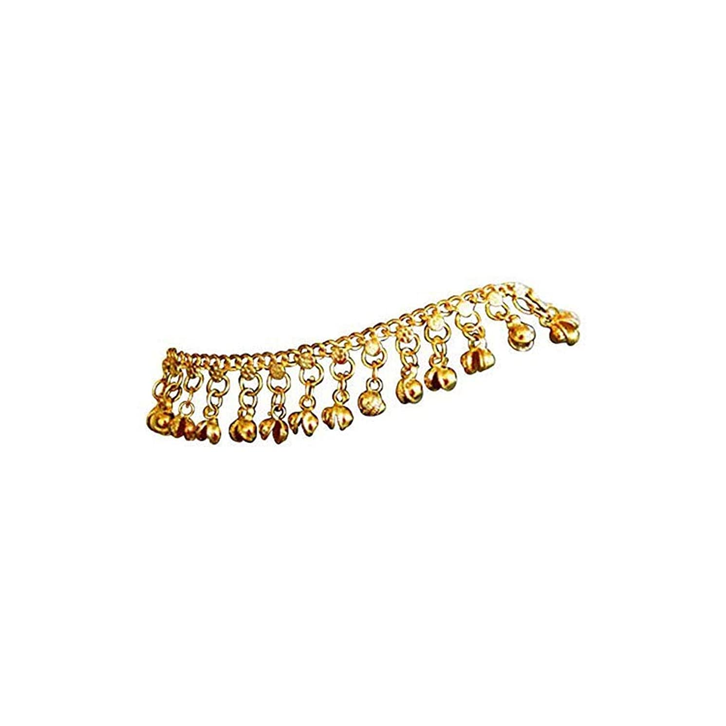 Uma Indian Traditional Belly Dance Ghungroo Brass Anklet with Jingling Bells Gold-Toned