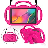 MENZO Kids Case for Samsung Galaxy Tab A 10.1 (2019 Released) SM-T510/T515, Light Weight Shockproof Shoulder Strap Handle Stand Kids-Friendly Case for Galaxy Tab A 10.1 Inch 2019 Release - Rose