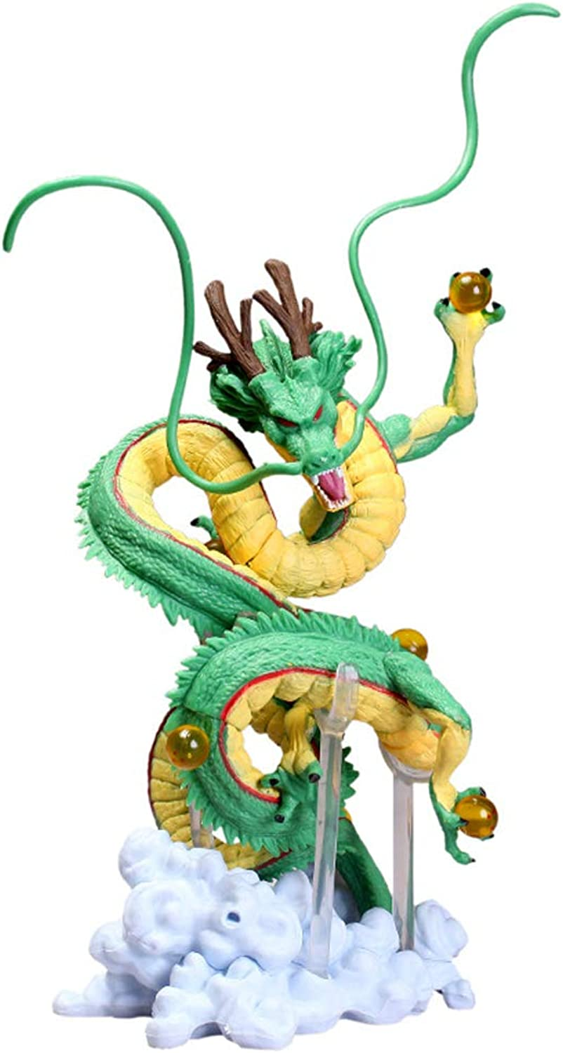 DNSJB Shenlong Toy Model Artist Dragon Ball God Dragon Statue Model Decoration Gifts Collection Crafts Christmas Green Wood color (About 21CM) (color   Green)