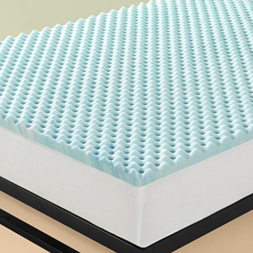 Zinus 3,8 cm Topper a flusso d'aria in memory foam Swirl Gel / Schiuma certificata CertiPUR-US/ Topper in a box/ 120 x 190 cm