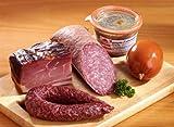 Probierpaket Nr. 88 - mit Katenschinken, Aalrauch-Bauernmettwurst, Drögt-Mettwurst, Aalrauchmettwurst streichfähig und einem Glas Bauern-Leberwurst