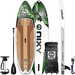 """NIXY Huntington Paddle Board Compact Travel Inflatable SUP 9'6"""" x 32"""" x 6"""" Ultra-Light Stand Up Paddleboard Built with Dua..."""