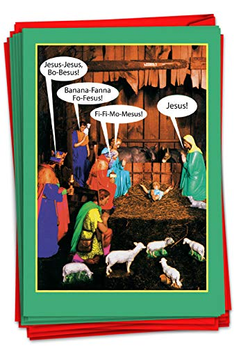 NobleWorks - 12 Blank Christmas Greeting Cards Funny - Boxed Xmas Cartoon Humor, Comic Notecard Set (1 Design, 12 Cards) - Jesus Bo Besus B1348K