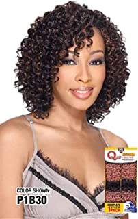 Q WATER DEEP 5PCS - MilkyWay Que Human Hair MasterMix Weave Extensions #1B Off Black