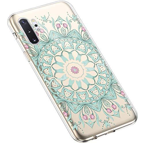 Uposao Samsung Galaxy Note 10 Pro Coque Silicone Transparente Motif Mandala Fleur Coloré Jolie Beau Housse de téléphone Semi Hybrid Crystal Case Antichoc Coque Housse Étui pour Galaxy Note 10 Pro,#6
