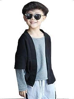 [エージョン] 子供服 ボーイズ 秋服 スウェットシャツ 長袖 カーディガン スウェット トップス 上下 2点セット 5-6歳 丸首 綿 ジュニア ファッション